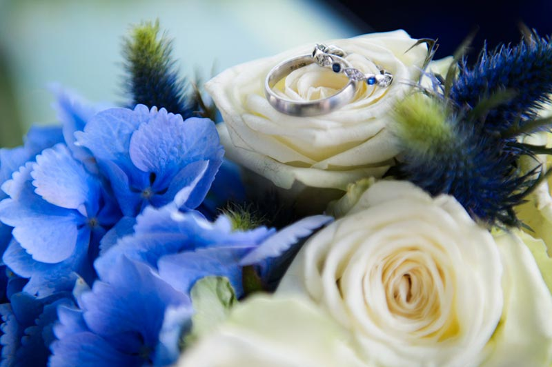 Purple / blue wedding flowers