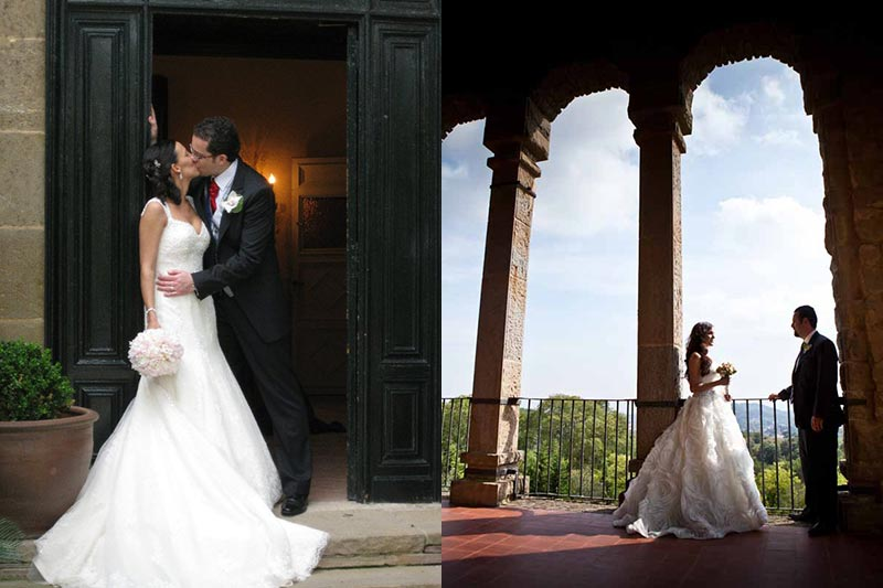 Designers: Pronovias (left), Rosa Clará(right)