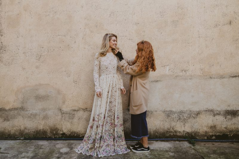 Imma directing her wedding dress model during photo shoot