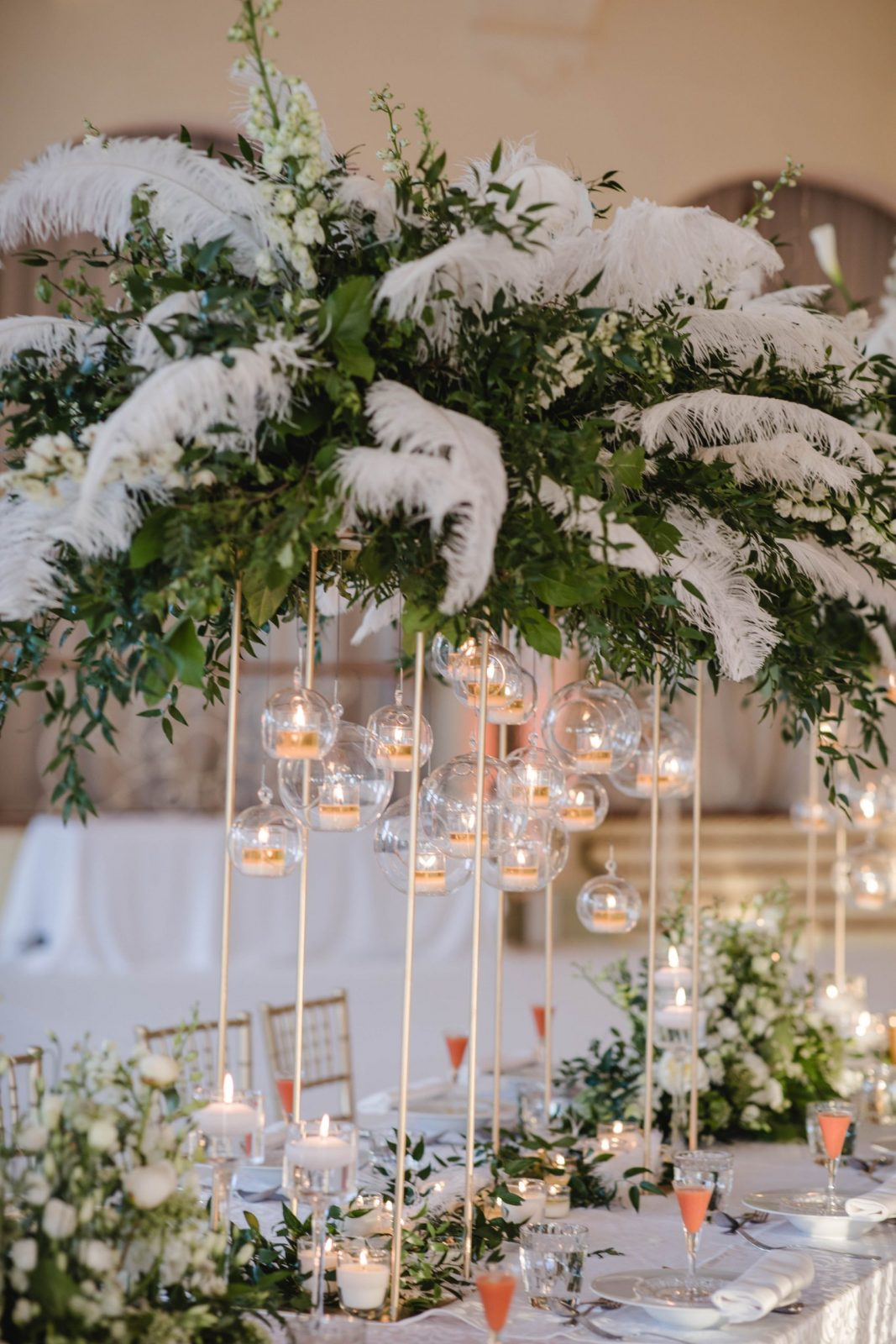 Tall centrepieces by Tavola Floral Design