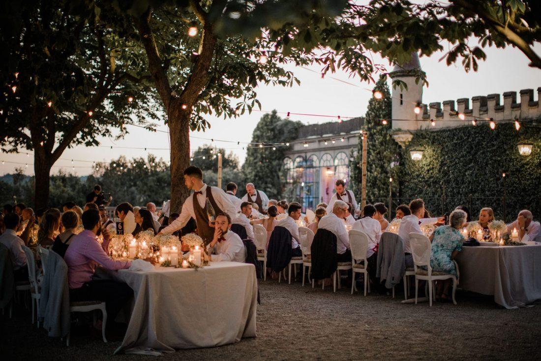Dreamy outdoor reception at Castell de Sant Marçal